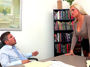 A blonde with big tits and tattoos rails her chief's hard man rod