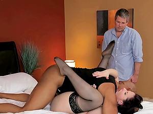 Caroline Pierce takes a black monster shaft as her man witnesses