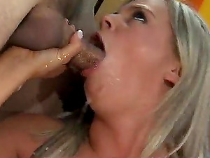 Super-cute blonde Bree Olson gives head and gets pounded by two guys