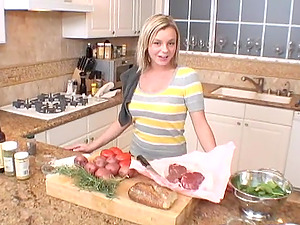 Dazzling Blonde With A Food Fetish Active In The KItchen