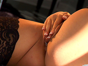 A blonde with a pierced labia fumbles her pleasure button and makes herself jism