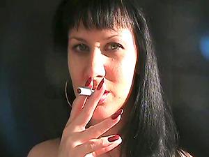 Smoking fetish solo with lustful dark-haired mom Mina