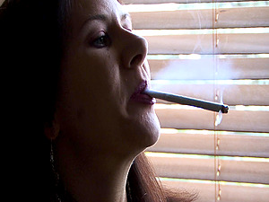 Enchanting Solo Model Dark haired Smoking In A Reality Shoot