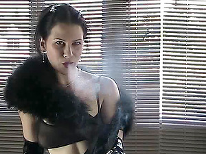 Fetish Solo Model in Elbow High Spandex Gloves Smokes