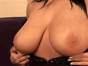 Kora Kryk shows her fantastic breasts and frigs her trimmed snatch