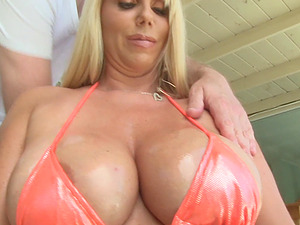 Lubed-up Blonde Cougar With Massive Tits Sucking A Stranger's Big Man rod