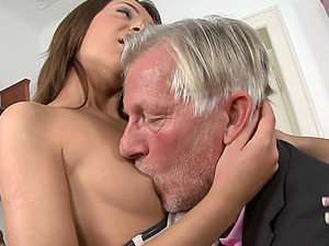 Alexis Brill and Meg Magic and share the dick of an old man