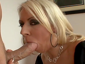Desirous cowgirl in sexy stocking getting drilled gonzo after providing yummy deep throat