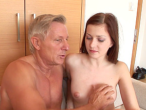 An older fellow entices a junior stunner and drills her asshole