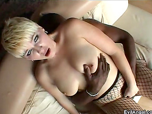 Brief Hair Blonde Gets To Taste Black And Milky Peckers Hard-core