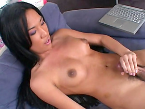 Asian shemale jacks her dick off in xxx solo vid