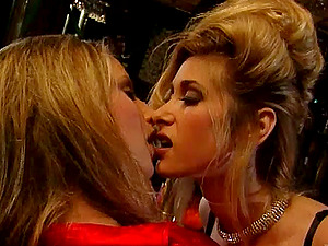 Lesbo Cougar In G-string Drilling A Bang-out Fuck-hole With Fucktoys