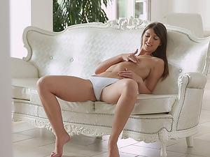 Dame With Petite Tits In Milky Undies Masturbating