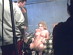Blonde With Lengthy Hair Gulps Jism In Backstage Shoot