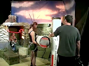 Ponytails Cowgirl In Miniskirt Doing Her Taunts In Backstage Shoot