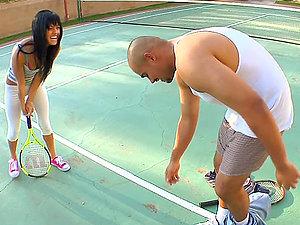 Sadie West bj's a big black hard-on on the tennis court