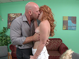 Sandy-haired Doll In High Stilettos Gets A Facial cumshot Jizz flow Indoors