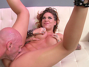 Tattooed Chick With Faux Tits Railing A Massive Dick