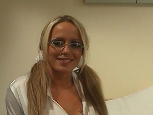Nerdy Sophie Banks Gets Penetrated In A Gonzo FFM Threesome