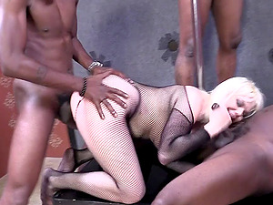Big-chested blonde Alice Frost attempts her best to please a few black dudes