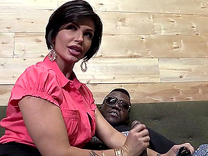 Winsome Brown-haired With Faux Tits Providing A Thick Black Jizz-shotgun Handjob