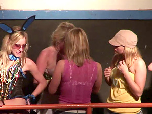 lovely honeys in hooter-sling and glasses get mad in club soiree