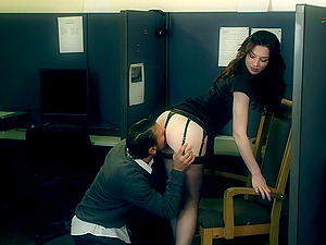 Hot titless black-haired Stoya gets fucked from behind in an office