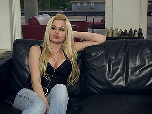 Adorable blonde with lengthy hair in jeans being banged gonzo doggystyle on sofa