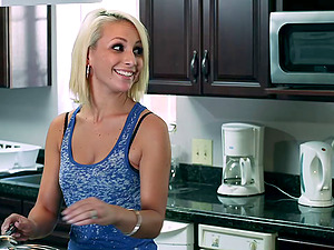 Blonde honey with natural tits is banged cowgirl style and guzzles spunk