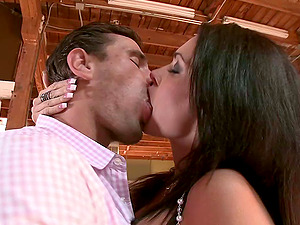 Bad dame in fishnets gives a blow-job then rails his hard dick