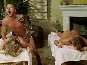 Beautiful porno sweeties Alanah Rae and Kayla Paige gets labia screwed raw and hot