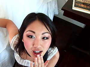 Asian gets on her knees and blows a boy until he cums in her mouth
