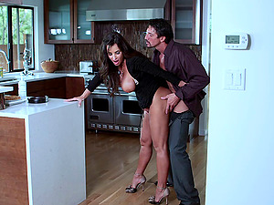 Gorgeous cougar with large faux tits lovin? a missionary style fuck in her kitchen