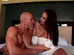 Gianna Michaels receives a hot and nasty cum shot fountain on her tits