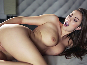 Breath-taking solo with charming dark-haired stunner frigging her labia