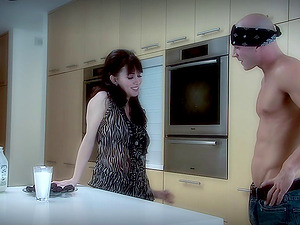 Pretty pornography starlet with a hot bod getting her vulva munched in her kitchen