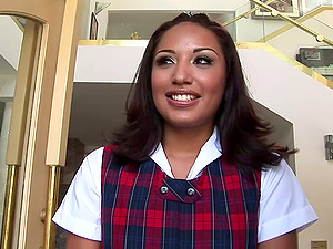 Jasmine Byrne wearing a school uniform gets sandwiched and facialed