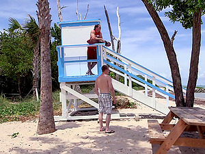 Two queer lifeguards disrobe down and fuck hard on the beach