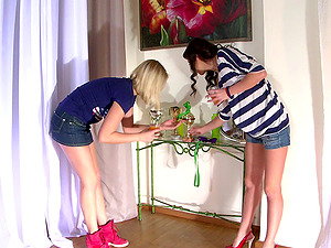 Alysa Knight and Lucy Heart leap on a dick by turns in FFM movie