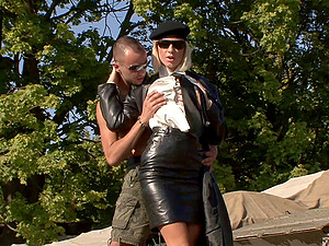 Lewd blonde Angelina Love gets fucked from behind outdoors