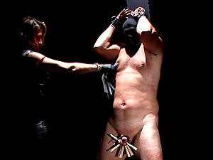 Affectionate slaved gent getting his massive nuts busted in female domination lovemaking