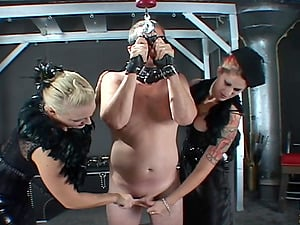 Marvelous honey enslave stud in restrain bondage then spank and ball bust him in Domination & submission