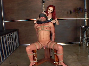 Tattooed sandy-haired Mz. Berlin has joy with a marionette in ball busting flick
