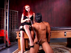 Tantalizing female dominance delivering a torturous ball busting before spanking his butt