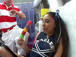 Ponytailed cheerleader Alexis Love gets her vag fucked deep in CMNF vid