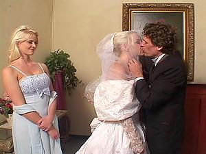 Lewd bride Missy Monroe gets double-teamed in gonzo MMF scene