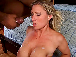 Sizzling blonde cougar with big tits lovin? an awesome interracial fuck