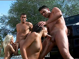Explosive Group hump featuring femmes with natural tits getting Double penetration and doggystyle fuck