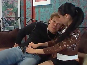 Dark haired stunners get cootchie fucked in hard-core threesome after BJ