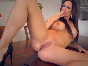 Big Tits Cougar Finger Fucks on Table